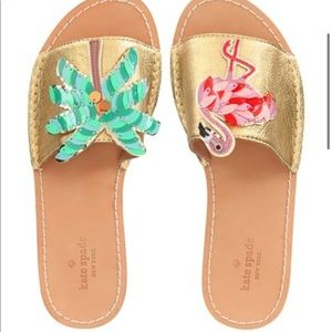 Kate Spade Izele Flamingo Palm tree sandal 10